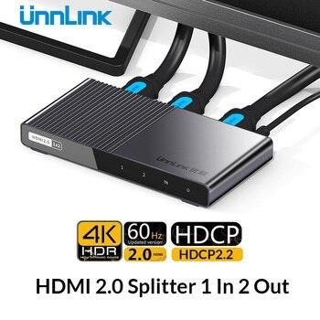 Unnlink HDMI Splitter 1X2 HDMI2.0 UHD 4K@60HZ 4:4:4 HDR HDCP 2.2 18Gbp 3D for LED Smart tv mi box ps4 xbox one switch projector unnlink hdmi switch 3x1 5x1 hdmi 2 0 uhd 4k 60hz 4 4 4 hdcp 2 2 hdr for smart led tv mi box3 ps3 ps4 pro projector