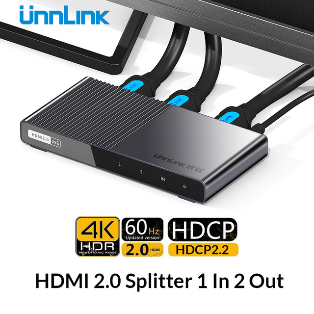 Unnlink HDMI Splitter 1X2 HDMI2.0 UHD 4K@60HZ 4:4:4 HDR HDCP 2.2 18Gbp 3D for LED Smart tv mi box ps4 xbox one switch projector