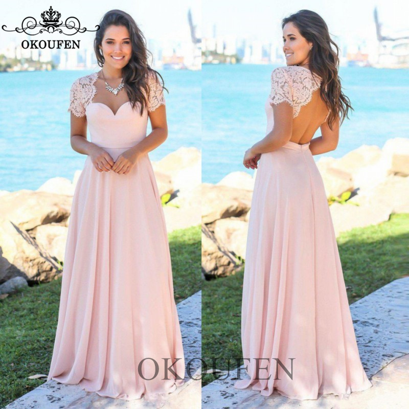 2019 Bohemia Beach   Bridesmaid     Dresses   With Capped Sleeves Light Pink Chiffon Sheer Lace Long Party   Dresses   Maid Of Honor Gown