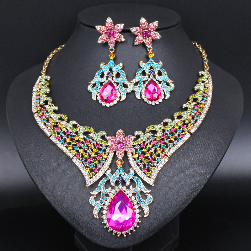 Fashion Crystal Necklace Earrings Sets Indian Bridal Jewelry Sets Rhinestones Party Wedding Costume Jewellery Accessories Women new fashion multicolor crystal exaggerated flower shape necklace and earrings sets for women party bridal wedding jewelry sets