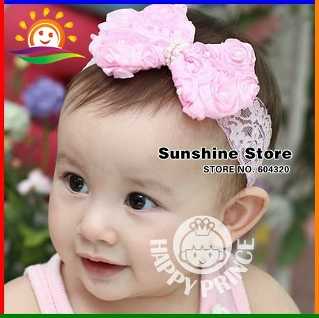 Infant baby newborn headbands flower elastic lace head band bebe;Toddler girls hair bows hairband #2B2163 10pcs/lot(2 colors)