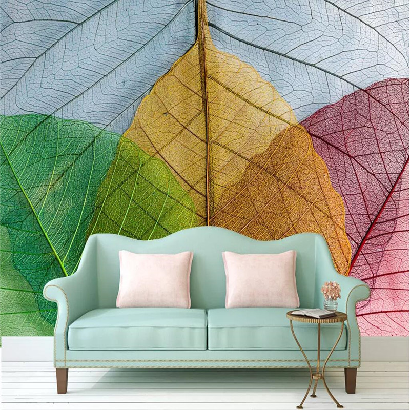 Living room sofa creative art leaves background wall professional production wallpaper murals custom poster photo wall in Fabric Textile Wallcoverings from Home Improvement