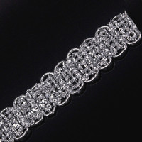 11mm Braided Gimp Silver Lace Trim Metallic Embellishment Applique Decorated Sewing Supplies for Garment Cloth 30yard/ T1303