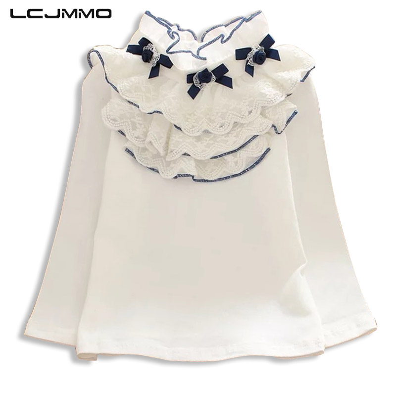 LCJMMO White Girls   Blouses   2018 Spring Lace Floral Long Sleeve Girl School   Blouse     Shirt   For Kids Tops Children Clothes 90-150cm