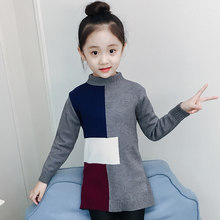 42937bd7a62ae Fashion Girls Patchwork Multicolor Sweater Knits Cardigan Long Sleeve Child  Autumn Crop Top Sweater Pullover Knitwear