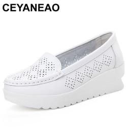 Ceyaneao moda recorte sapatos femininos verão dividir mocassins de couro para mulher plana branco enfermeira sapatos creepers plataforma tênis