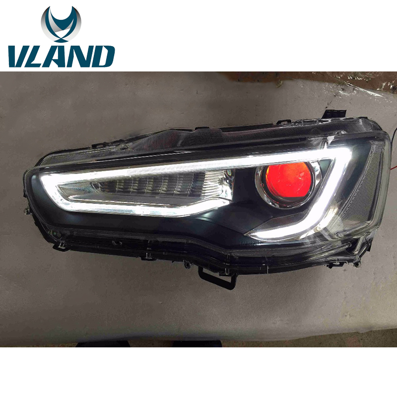 VLAND Factory For Car Head Lamp 2008 2009 2010 2012 2015 For Lancer EX LED Headlight With Xenon Bulb And Moving Turn Sigal Light