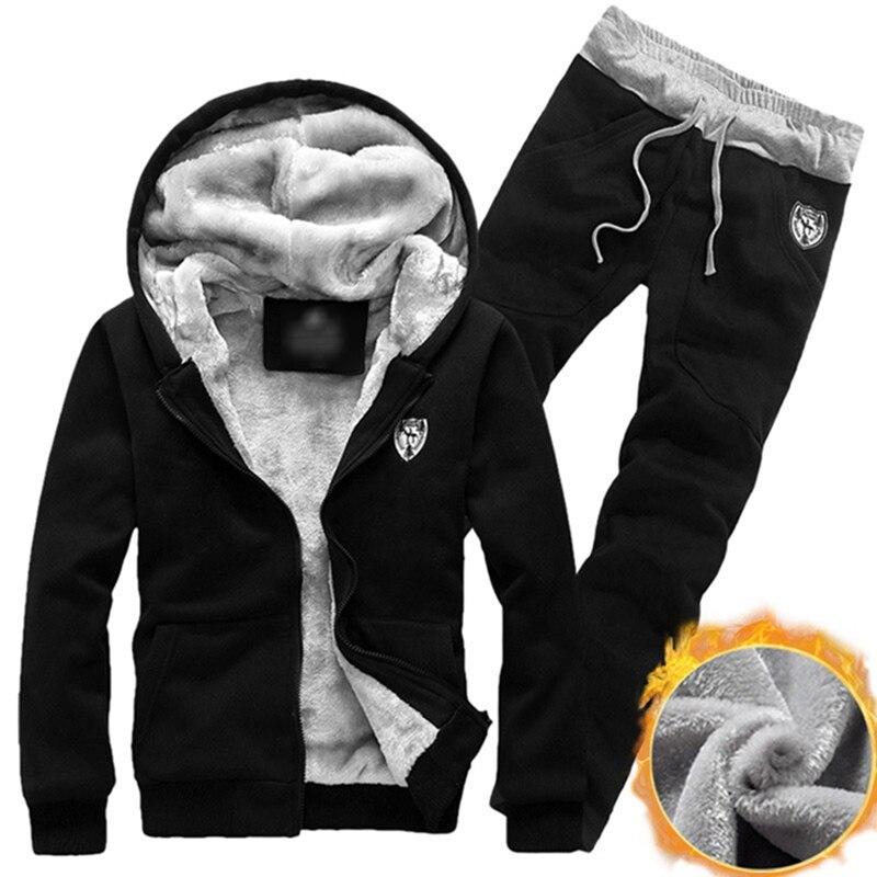 2019 Winter Thick Waist Pants Casual Men Set Men Sports Suits Tracksuit Hoodie Sportswear Zipper Fleece Hooded Jackets+Elastic