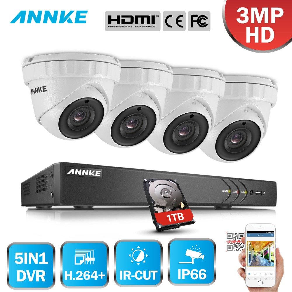 ANNKE 3MP 16CH HD 5 IN 1 DVR Kit CCTV System 4pcs 3MP Security Bullet Camera IR Outdoor Home Waterproof Video Surveillance Kit 2017 china security cheap 1 3 cmos 960p 1 3mp cctv waterproof ahd bullet camera system surveillance equipment outside