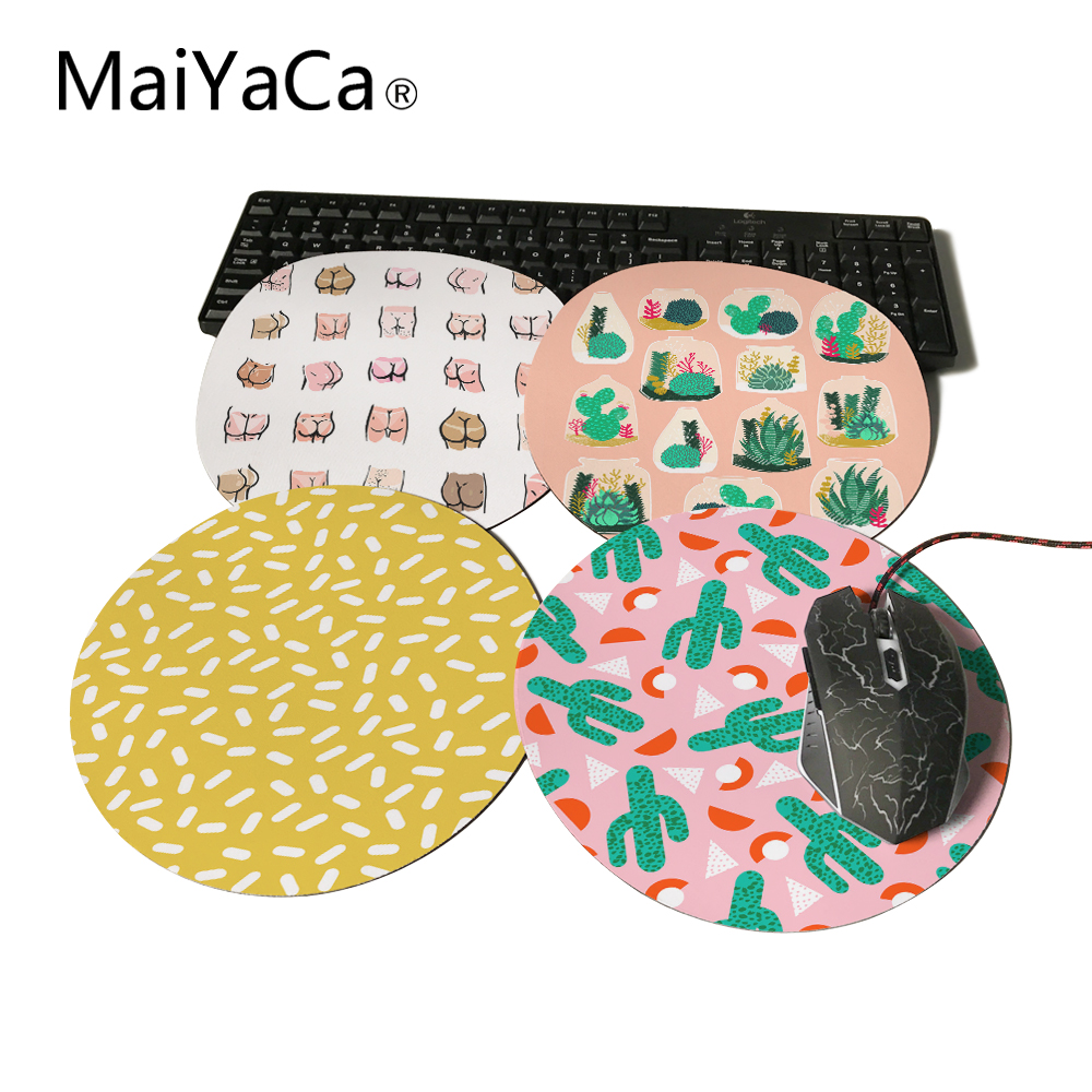 MaiYaCa Round Mouse Pad Red Hot Cactus Southwest Desert Palm Customize Your Own Image Good Quality Anti-Skid Table Mats