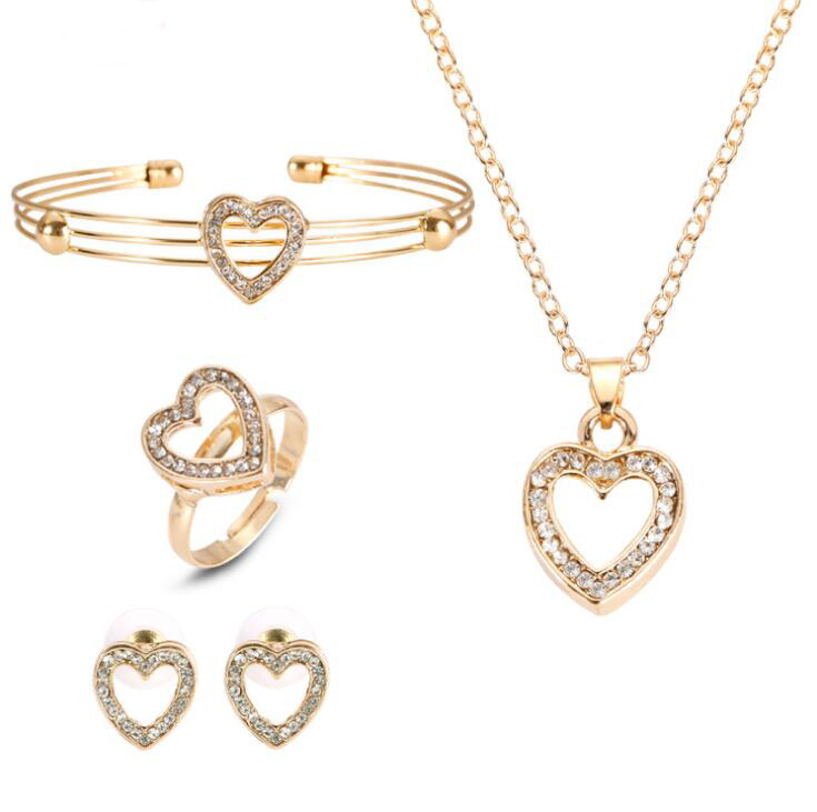 4 Pcs/ Set Cute Heart Shaped Necklace Earrings Sets Jewelry Crystal Kid Children Lovely Gold Color Jewelry Sets for Girl Gift