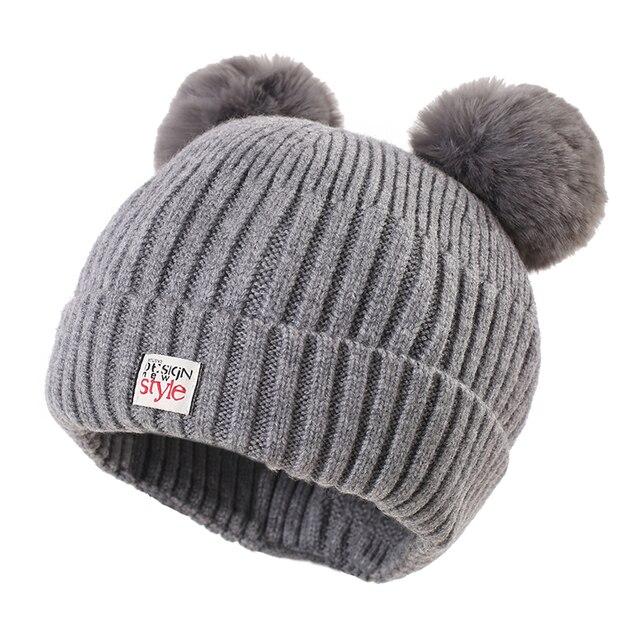 eaa017457603c Baby Girls Hat Crochet Double Pompom Hat For Girls Winter Children Cap New  Sytle Kids Cap With Pompom
