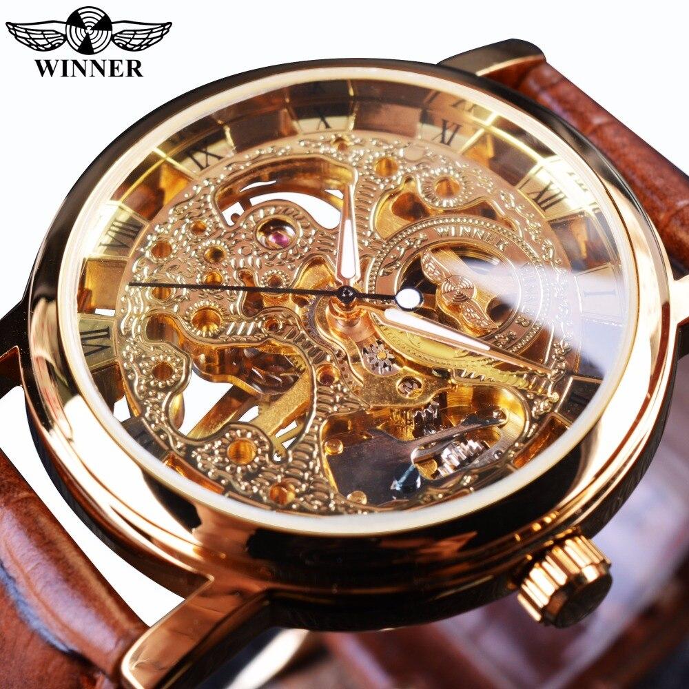 Победитель прозрачный Золотой Дело Роскошные Повседневное Дизайн коричневый кожаный ремешок мужские часы лучший бренд роскошные механиче...