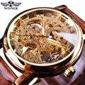 Caja de Oro de Lujo ganador Transparente Diseño Casual Brown Correa de Cuero Para Hombre Relojes de Primeras Marcas de Lujo Mecánico Esquelético Del Reloj