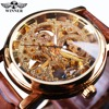Winner Transparent Golden Case Luxury Casual Design Brown Leather Strap Mens Watches Top Brand Luxury Mechanical