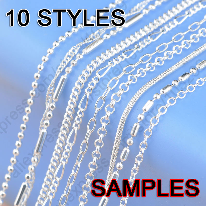 Sample Order 10pcs Mix 10 Styles 18 1 2 2mm Pure 925 Sterling Silver Jewelry Link Necklace Chains Lobster Clasps Findings Leather Bag
