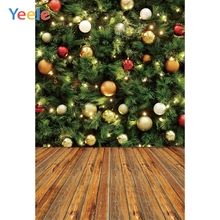 Yeele Photography Backdrops Green Christmas Trees Ball Wood Professional Camera Photographic Backgrounds For The Photo Studio
