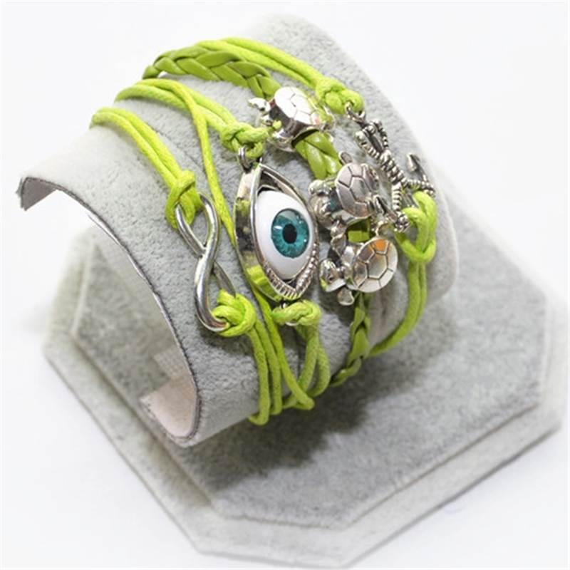 L0202 HOT 2016 Popular Multilayer Braided Bracelets Vintage Eye Tortoises Multicolor Woven Leather Bracelet Bangle girl - BILL JEWELRY CO,.LTD Min order $8 store