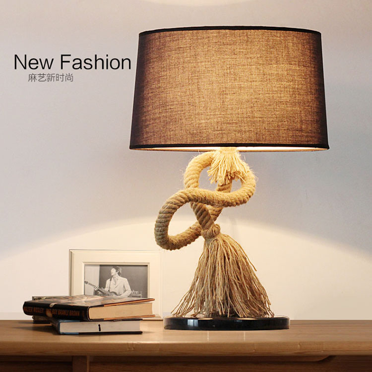 American countryside hemp rope desk lamp. Retro table lamp bedroom bedside lights, Vintage Bar Cafe studyroom iron lamp