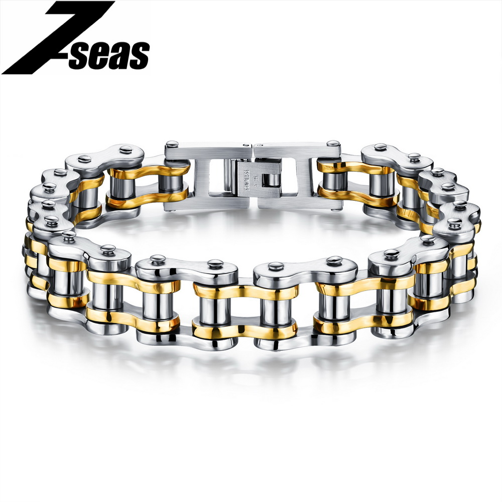 Cool Men Biker Bicycle Motorcycle Chain Men's Bracelets & Bangles Fashion 4 Color 316L Stainless Steel Jewelry,JM781J meaeguet fashion stainless steel bike bracelet men biker bicycle motorcycle chain bracelets bangles jewelry