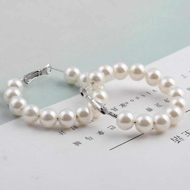 SMJEL perle exagérée grand cercle boucles d'oreilles à la mode élégant créé grand simulé 6mm blanc perle longue bague boucles d'oreilles pour les femmes