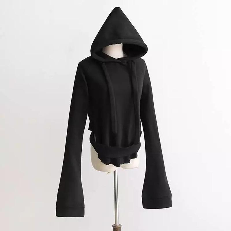 WAQIA Fashion Co., Ltd 2017 New Hoodies Sweatshirt harajuku Sweats Women Clothing Feminina Loose Flare sleeve Jumper Sweats with hat hoodie streetwear