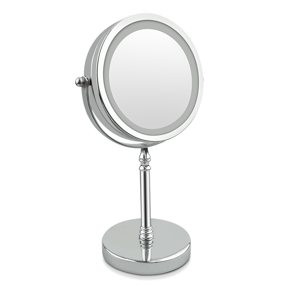 8 Inch Desktop Makeup Mirror 10X Magnifying With LED Light Circular Double Sided Metal Compact 360 Degree Rotating Round Shape makeup mirror with 16 leds 10x magnifying portable desktop travel mirror wall suction mounted 360 degree rotation round mirror