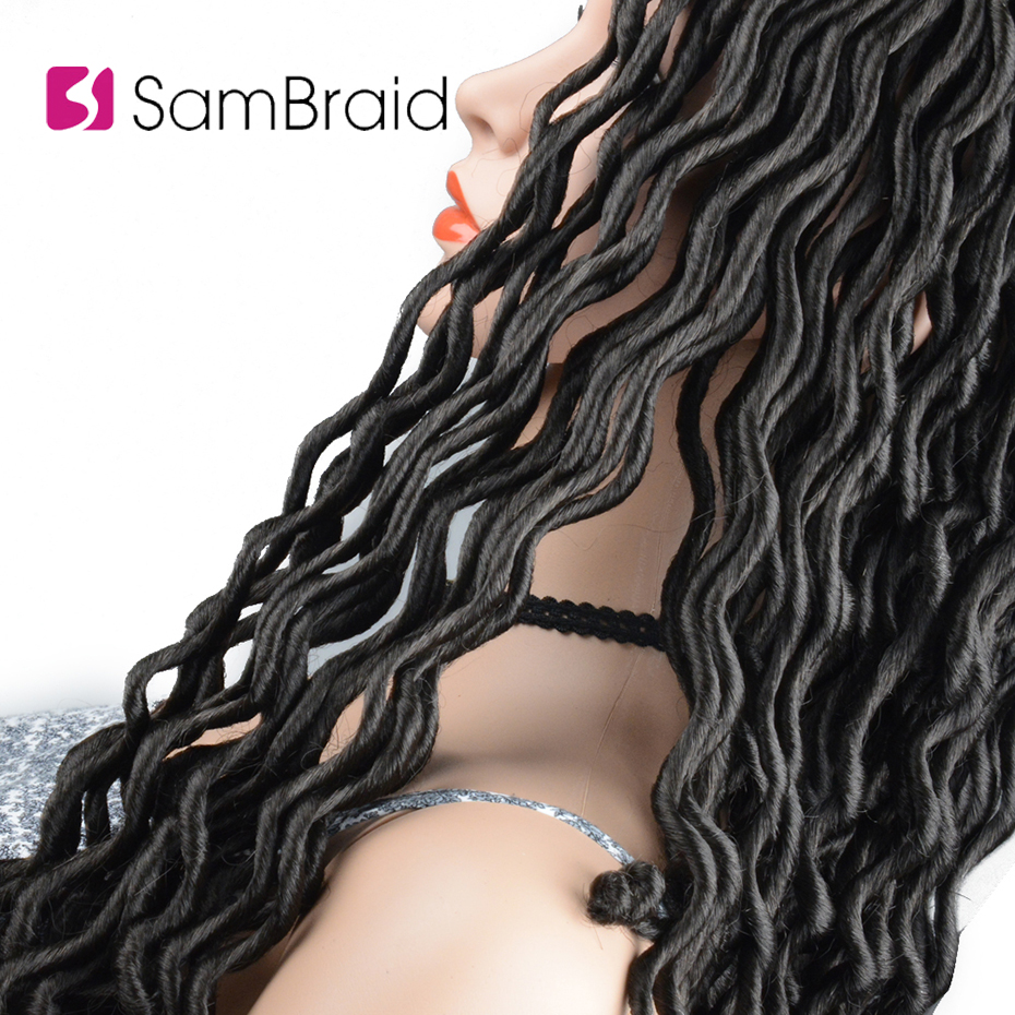 SAMBRAID Crochet Hair Extensions Faux Locs Curly Crochet Braiding Hair Synthetic Hair Ombre Braids 24root pack 18inch For women in Curly Dreadlocs from Hair Extensions Wigs