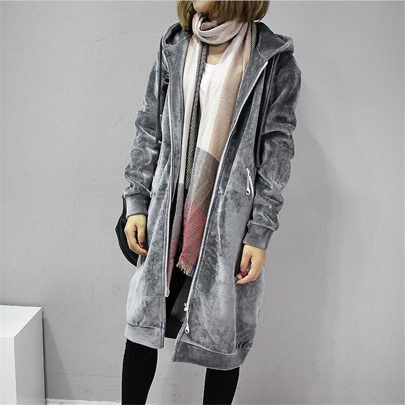 2018 Autumn New Open Velvet Women Hooded Basic Coats jacket Casual Lady Winter Long Fashion Black Winter Jacket Women A3386