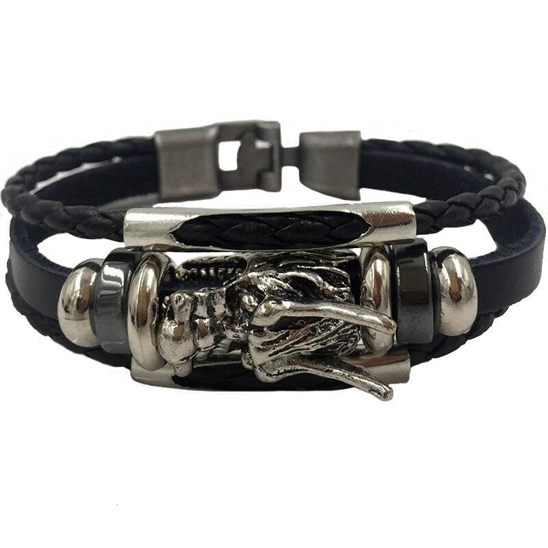 site réputé abd19 c6f16 US $1.91 25% OFF|Bracelet men homme 2018 Tibetan silver men leather  bracelet fashion male vintage parataxis dragon Multilayer jewelry  XY17014-in Charm ...