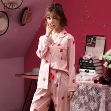 BZEL Autumn Women Ladies Cotton Pajamas Sets Long Sleeve Top