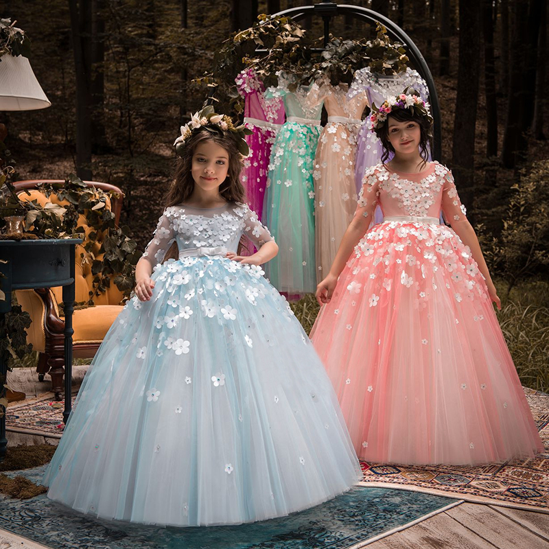 2018 New Pageant Gowns   Flower     Girl     Dresses   for Weddings Long Ball Gown Prom Evening   Dress   Holy Communion   Dresses   For   Girls   2018