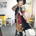 Рождество Свитер женщины осень зима свободные толстые мультфильм рисунок длинный свитер пальто Дамы С Длинными Кардиганы с длинным рукавом