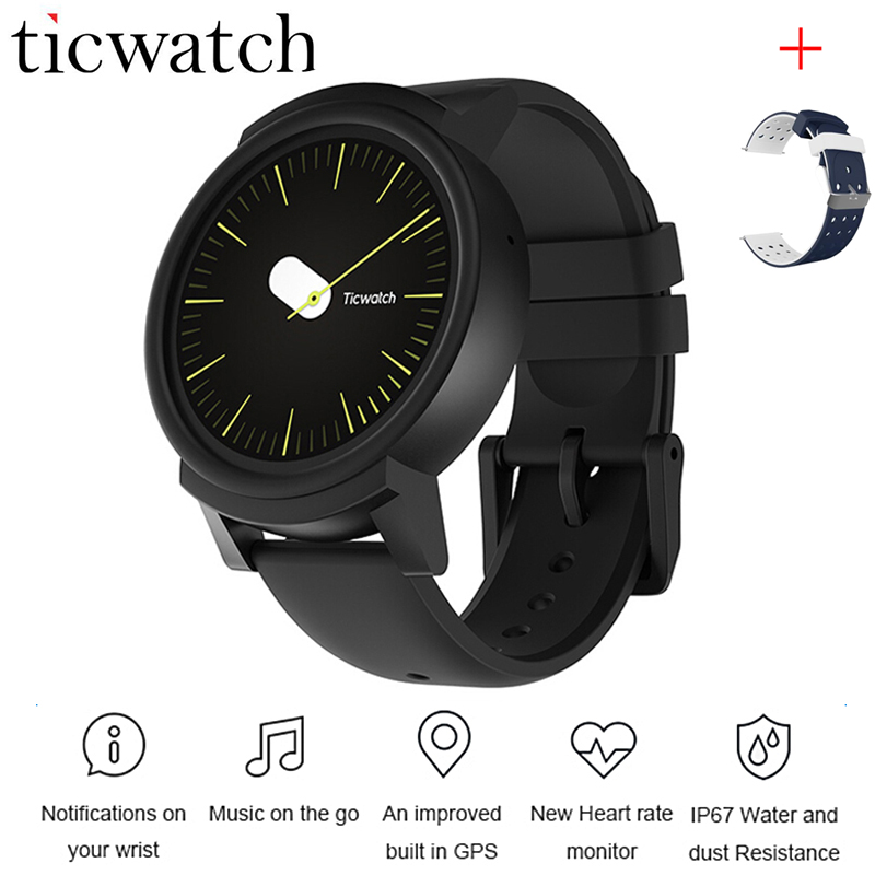 Ticwatch E Expres Smart Watch Phone Android Wear OS MT2601 Dual Core Heart Rate Monitor  WIFI GPS Waterproof + One Free Strap hetngsyou android smartwatch waterproof phone bluetooth smart watch 1 3ghz dual core ip67 gps watch cam 1g 8g heart rate 3g wifi