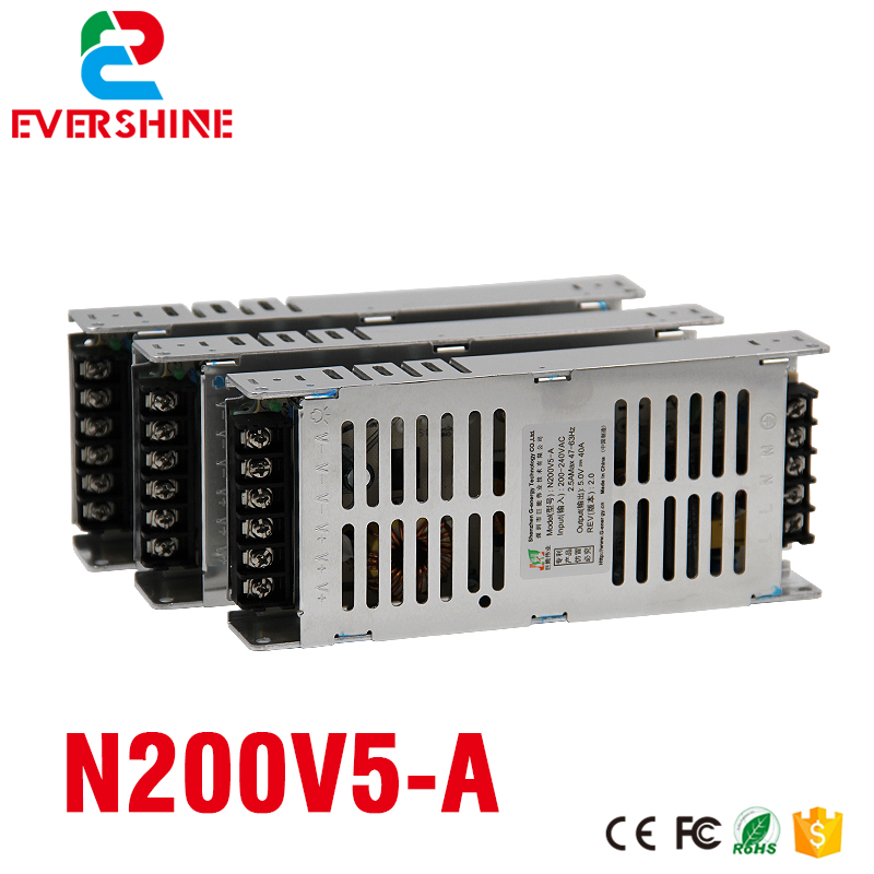 G-energy N200V5-A Slim 5V 40A 200W LED Display Power Supply , 30mm Thickness support 220V AC Input Voltage