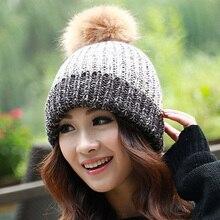 Winter Knitted Cap Women Fox Fur ball pom pom caps Crochet Hats For Women Patchwork Cute Casual Cap Women Beanies Gorros