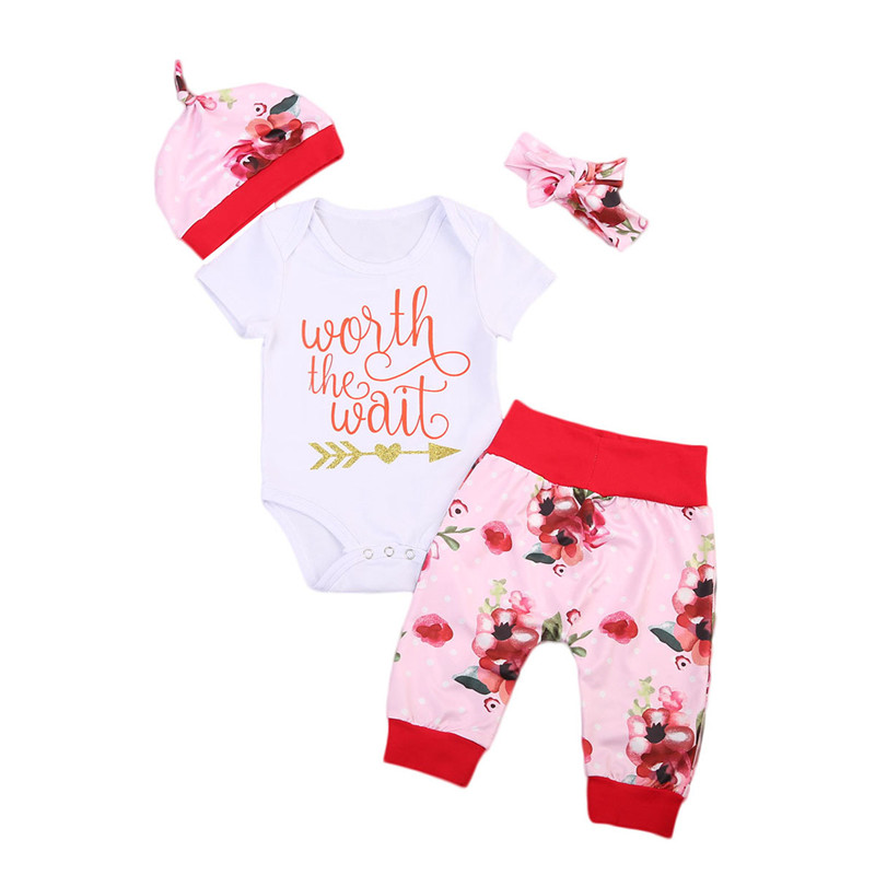 New Style Infant Baby Girls Clothes Short Sleeve Romper Top Leggings Hat Headband Floral Rose Outfits Baby Clothing Set