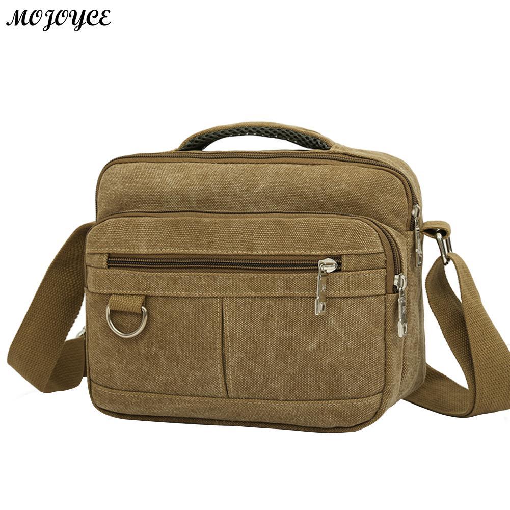 Nuevos hombres de la lona bolsa de mensajero ocasional hombro Multi-Bolsillo Crossbody bolsa Simple viaje de color caqui bolso Bolsas