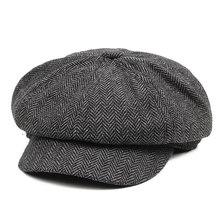 Винтажный стиль Мужская панель твид Newsboy шапки облегающая шляпа для вождения хаки серый