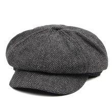 Vintage Style Men's Panel Tweed Newsboy Caps Formfitting Driving Hat Khaki Gray
