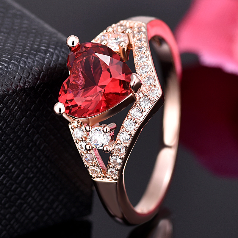 Love Heart-Shaped rRose Red Crystal Zircon ring For Women Gift Drop Shipping Jewelry 6