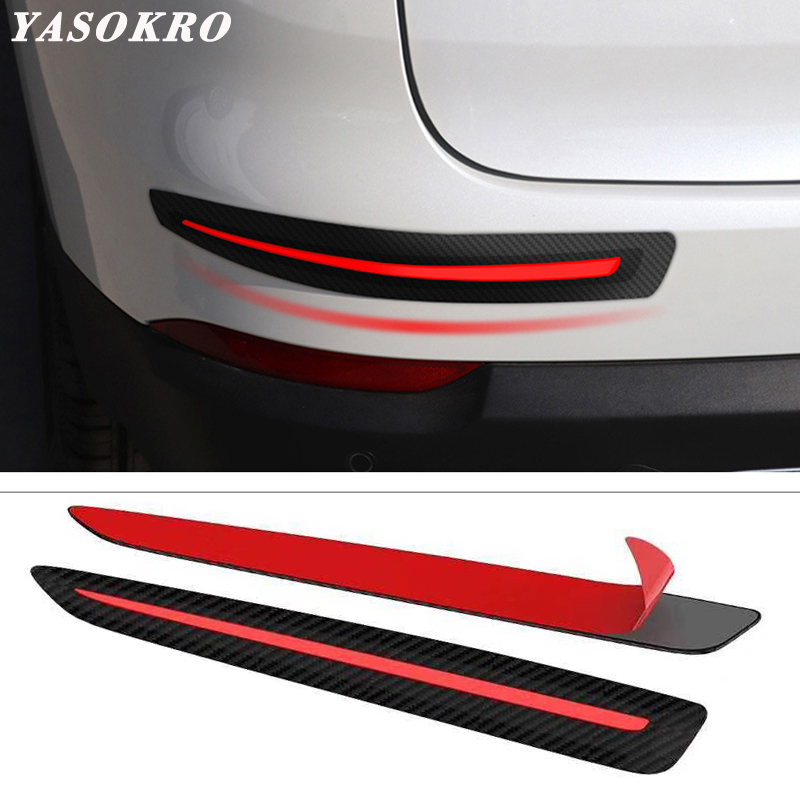 4X Autos Front+Rear Bumper Carbon Fiber Black Crash Strip Decorative Protections