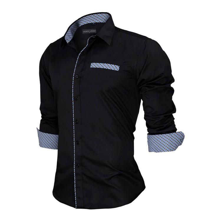 HTB1zBmvKVXXXXbTXXXXq6xXFXXXH - New Arrivals Slim Fit Male Shirt Solid Long Sleeve British Style Cotton Men's Shirt N332