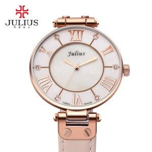 Image 3 - Lady Womens Watch Japan Quartz Hours Fine Fashion Dress Bracelet Girl Birthday Gift Leather Clock Shell Retro Julius