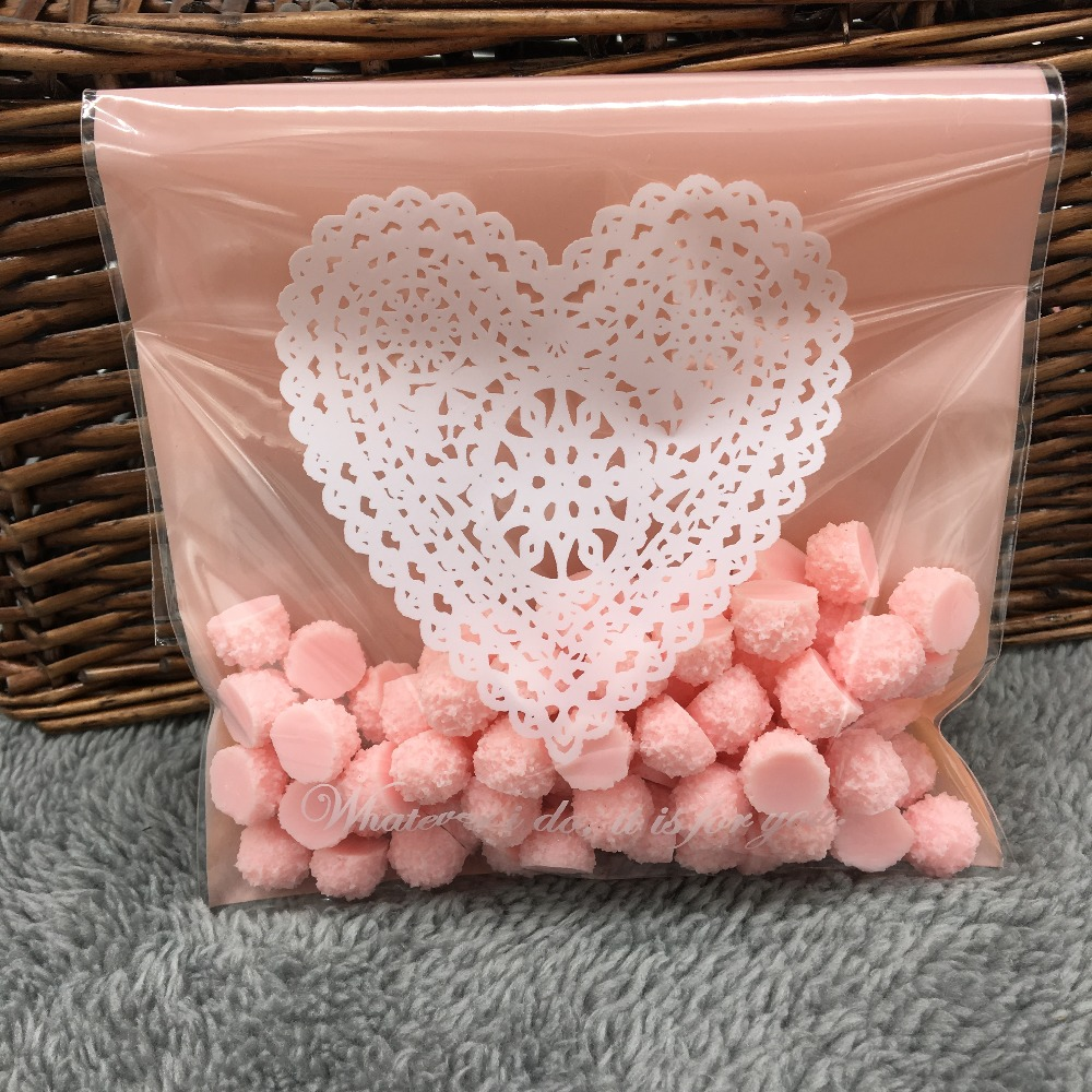 ⊰12cm*18cm 20Pcs Pink Lace Heart Cookie Self Adhesive Plastic ...
