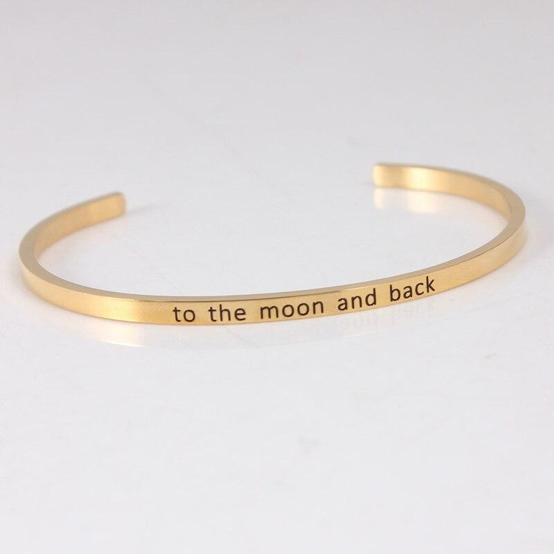 Bracelet de barre d'acier inoxydable de la couleur 316L d'or bracelets pour femme de Mantra de manchette d'inspiration Positive - 5