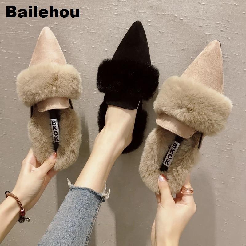 Bailehou Women Fur Slippers Warm Plush Home Slippers Women Flat Casual Shoes Women Outdoor Slides Suede Loafer Slip On Mule Shoe roxy women s lido iii b slip on shoe flat