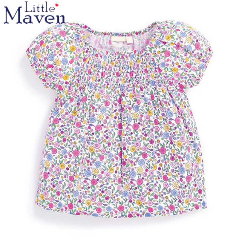 100% Little Maven latest 2018 new summer baby girls clothes short sleeve O-neck t shirt pure Cotton flower printing tee tops