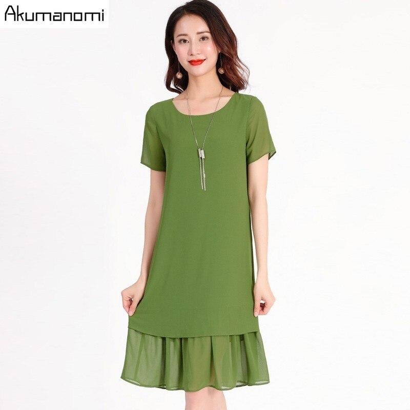 7ac1c52ef Vestido De Verano para mujer 2019 talla grande 5xl-m negro verde cuello  redondo De manga corta ...