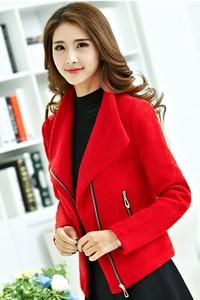 Image 3 - Women Autumn Red Thick Woolen Jacket Female Short Coat